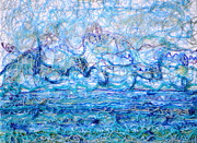 Extruded Paint Reliefs Prints - Gelid Seascape Print by Regina Valluzzi