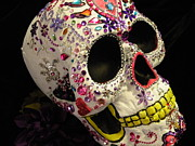 Colorful Art Sculptures - Gem Skull by Rita H Ireland
