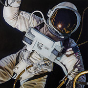 Atheist Paintings - Gemini IV- Ed White by Simon Kregar