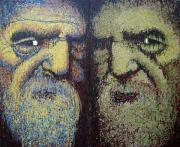 Elderly People Paintings - Gemini by Kate Tesch
