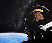 Atheist Paintings - Gemini XII- Buzz Aldrin by Simon Kregar