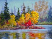 Foliage Paintings - Gems Of Hawrelak Park by Mohamed Hirji