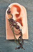 Gear Jewelry Originals - Gemstone and Swarovski Crystal Large Bronze Steampunk Ear Cuff by Heather Jordan
