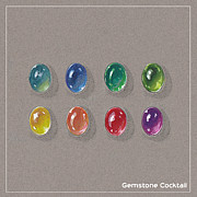 Gemstone Jewelry Prints - Gemstone Cocktail Print by Marie Esther NC