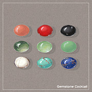 Color Green Jewelry Posters - Gemstone palette Poster by Marie Esther NC