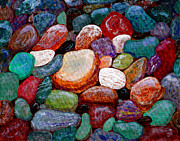 Colored Rocks Posters - Gemstones Poster by Barbara Griffin