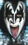 Gene Simmons Framed Prints - Gene Simmons Framed Print by Luis  Navarro