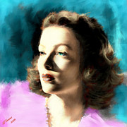 Hollywood Star Framed Prints - Gene Tierney Framed Print by Arne Hansen