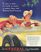 Tires Drawings Posters - General 1930s Usa Tyres Women Woman Poster by The Advertising Archives