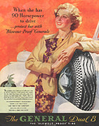 Tires Drawings Posters - General 1930s Usa Tyres Womens Poster by The Advertising Archives