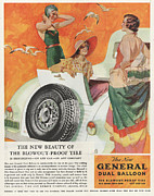 Tires Drawings Posters - General 1933 1930s Usa Tyres Womens Poster by The Advertising Archives