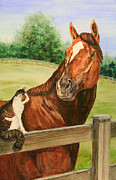 Horse Racing Paintings - General Charlie and Whirlaway the Cat Portrait by Kristine Plum