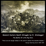 Little Big Horn Framed Prints - General Custers Death Struggle Framed Print by H Steinegger