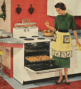 Twentieth Century Drawings Posters - General Electric 1950s Usa  Ovens Poster by The Advertising Archives
