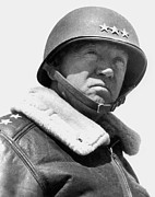 Portraits Tapestries Textiles Metal Prints - General George Patton Metal Print by War Is Hell Store