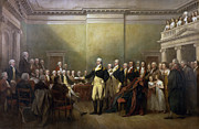 First President Posters - General George Washington Resigning His Commission Poster by John Trumbull