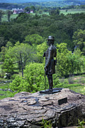 Battlefield Site Prints - General Kemble Warren at Little Round Top Print by John Greim