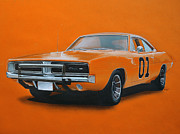 Coupe Drawings Acrylic Prints - General Lee Dodge Charger Acrylic Print by Paul Kuras