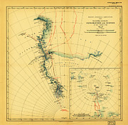 Old Map Paintings - General Map showing the Explorations and Surveys of the Expedition 1907 09 by MotionAge Art and Design - Ahmet Asar