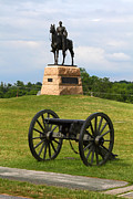 Civil War Battle Site Photo Prints - General Meade Monument and Cannon Print by James Brunker