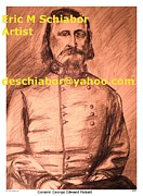Portraits Drawings Metal Prints - General Pickett Confederate  Metal Print by Eric  Schiabor