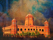 Architecture  Drawings Paintings - General Post Office Lahore by Catf