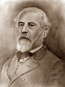 Military Hero Drawings Prints - General Robert E. Lee Print by Andrea Binkley