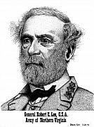 Confederacy Drawings Prints - General Robert E. Lee Print by Bruce Kay