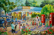 Red Geraniums Prints - General Store after July 4th Parade Print by Jan Mecklenburg