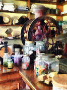 Old Grinders Metal Prints - General Store With Candy Jars Metal Print by Susan Savad