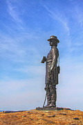 Statue Of Confederate Soldier Photo Prints - General Warren Statue at Gettysburg Print by Randy Steele