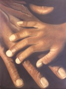 Hands Pastels Acrylic Prints - Generation to Generation Acrylic Print by Wil Golden