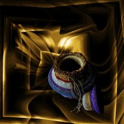 Metallic Tapestries - Textiles Posters - Genie Magic Bag Poster by Barbara St Jean