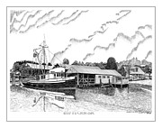 Trawler Drawings Metal Prints - Genius Gig Harbor Metal Print by Jack Pumphrey