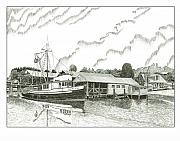 Boats At Dock Drawings Framed Prints - Genius ready to fish Gig Harbor Framed Print by Jack Pumphrey