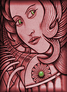 Magical Drawings Framed Prints - Genius Wants The Girl With Green Eyes Framed Print by Jon Gemma