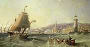 Harbor Paintings - Genoa by John Wilson Carmichael