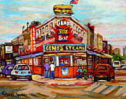 Philadelphia Painting Prints - Genos Steaks Philadelphia Cheesesteak Restaurant South Philly Italian Market Scenes Carole Spandau Print by Carole Spandau