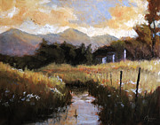 Tuscan Sunset Painting Originals - Genova Italy Montoggio Countryside by Christopher Clark