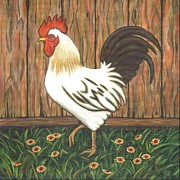 Chickens Paintings - Gent the Rooster by Linda Mears