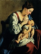 Drapery Prints - Gentileschi Orazio, Madonna And Child Print by Everett