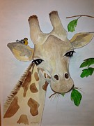 Serengeti Drawings Prints - Gentle Giraffe Print by Brenda Mayall