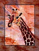 Animal Tapestries - Textiles Metal Prints - Gentle Giraffe Metal Print by Sylvie Heasman
