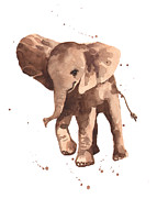 Nursery Decor Paintings - Gentle Graham Elephant by Alison Fennell