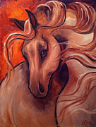 Spanish Horses Paintings - Gentle One by Leni Tarleton