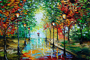 Palette Knife Acrylic Prints - Gentle Rain Acrylic Print by Beata Sasik