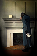 Distress Posters - Gentleman by a Fireplace Poster by Jill Battaglia