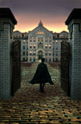 Stone Home Posters - Gentleman in Top Hat and Cape Walking Through Gates Poster by Jill Battaglia