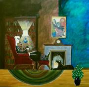 John Lyes Posters - Gentleman Sitting in Wingback Chair Enjoying a Brandy Poster by John Lyes