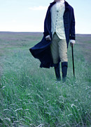 Period Clothing Posters - Gentleman Walking in the Country Poster by Jill Battaglia